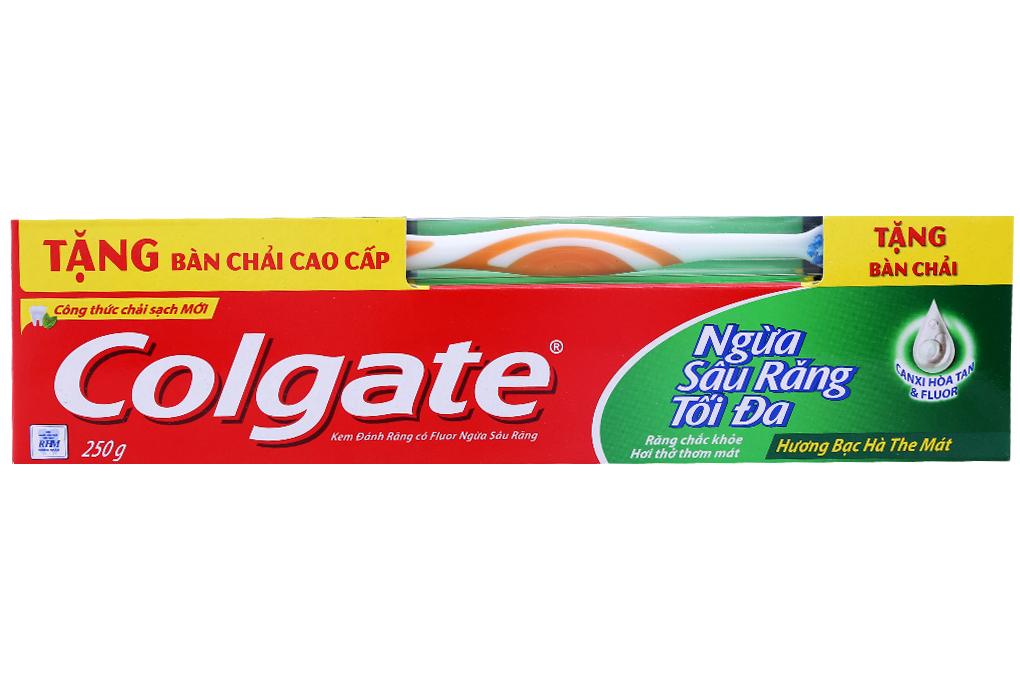 Kem đánh răng Colgate ngừa sâu răng tối đa 250g và bàn chải