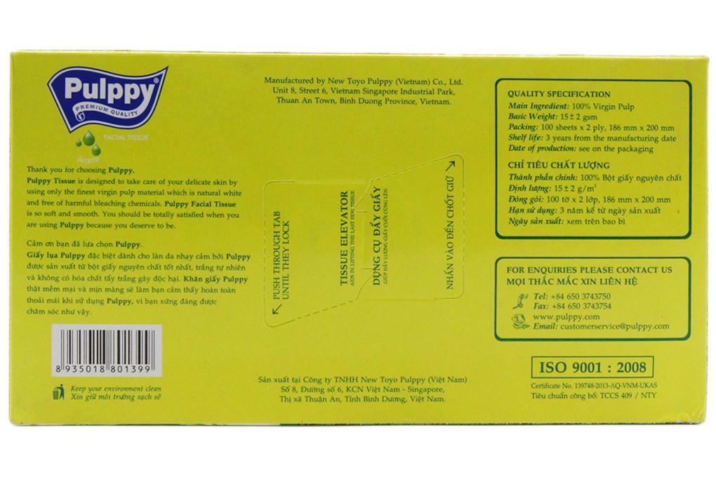 Khăn giấy lụa Pulppy Hương Trà hộp 100 tờ 2 lớp