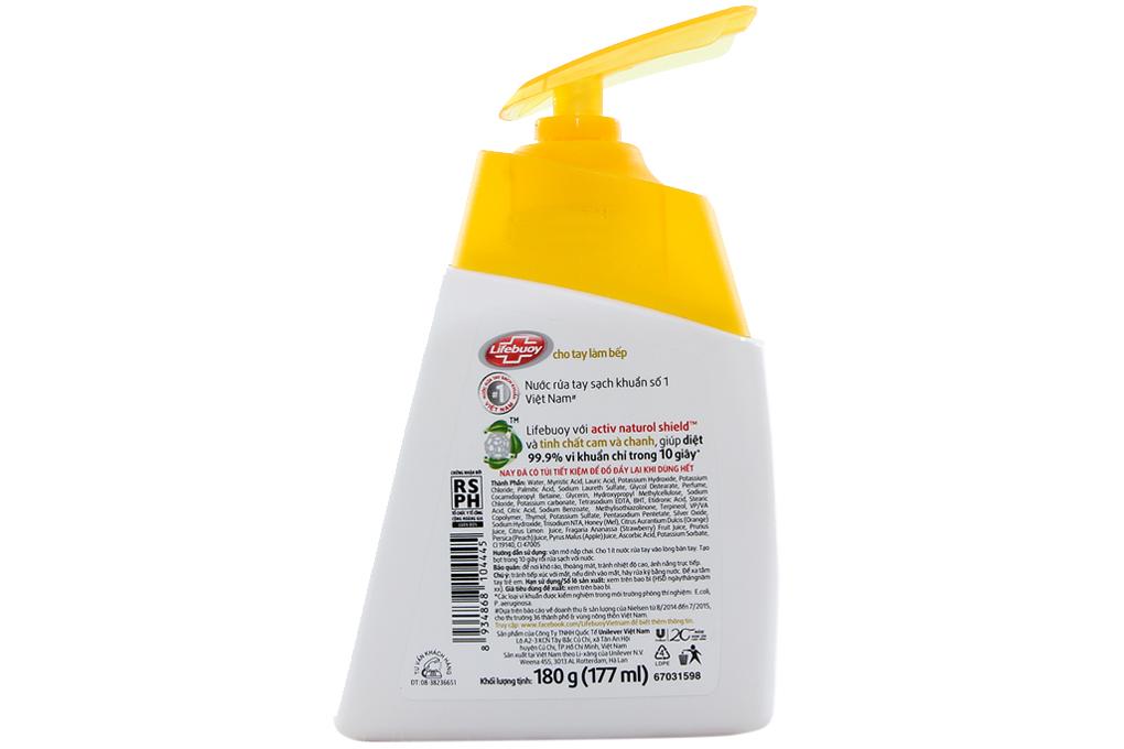 Nước rửa tay Lifebuoy cho tay làm bếp chai 177ml