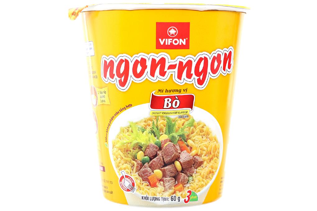 Mì ly Ngon-Ngon hương vị bò gói 60g