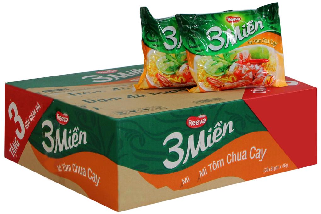 Mì Reeva 3 miền hương vị tôm chua cay gói 65g