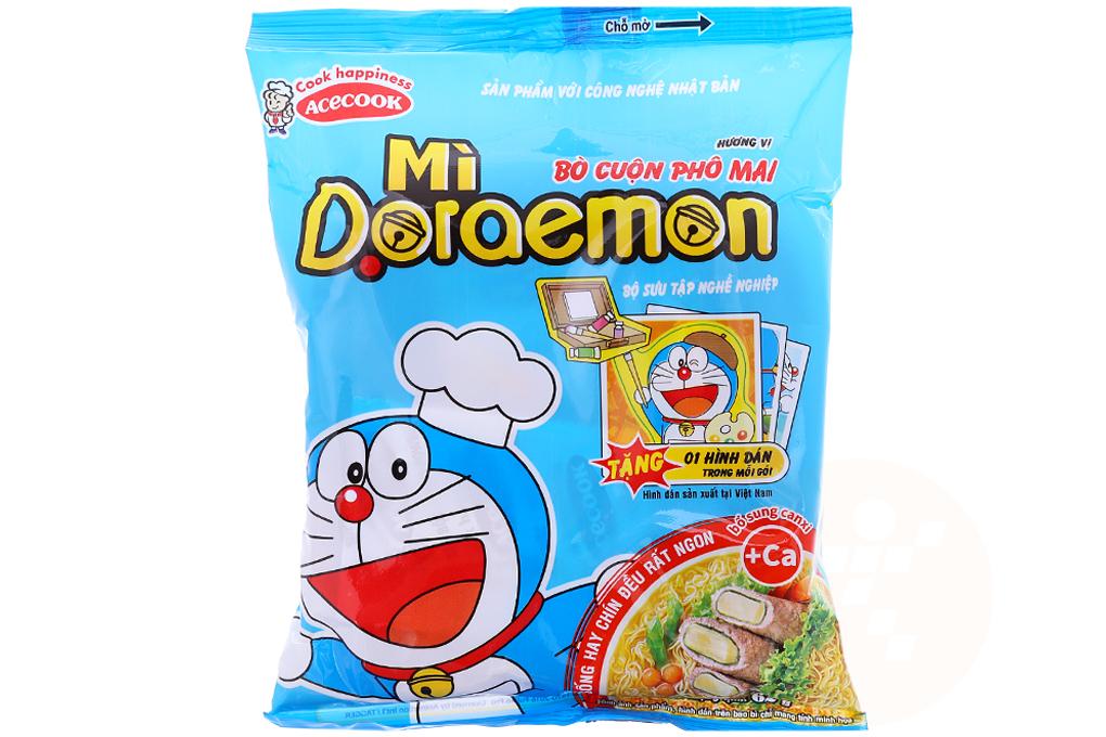 Mì Doraemon vị bò cuộn phô mai gói 62g