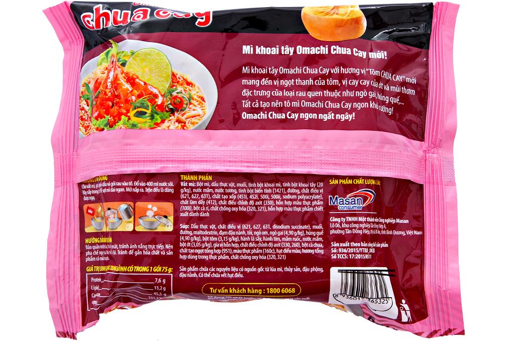 Mì Omachi hương vị tôm chua cay gói 75g