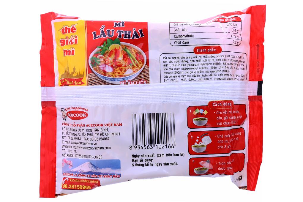 Mì ăn liền Lẩu Thái hương vị Tôm gói 80g
