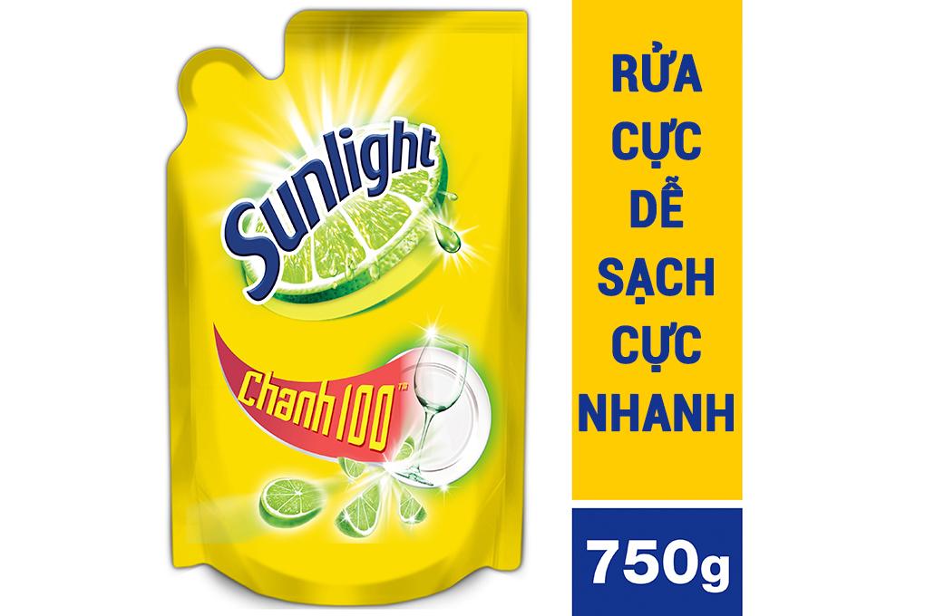 Nước rửa chén bát Sunlight Chanh100 túi 750g (725ml)