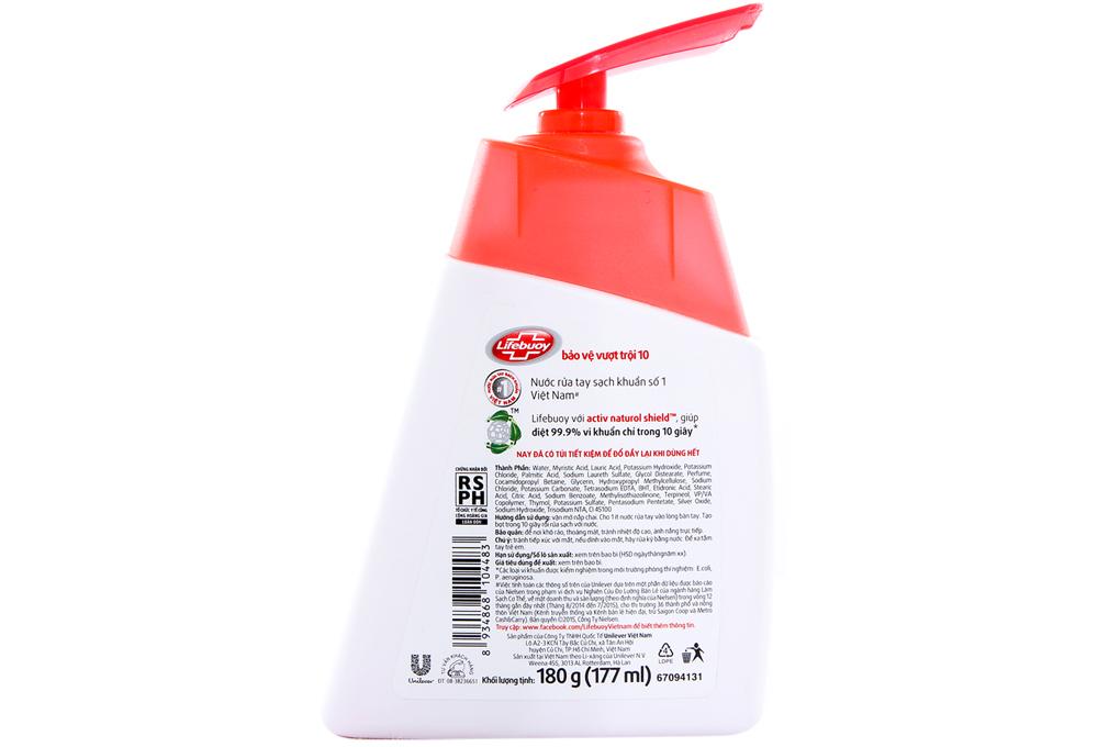 Nước rửa tay Lifebuoy bảo vệ vượt trội 10 chai 177ml
