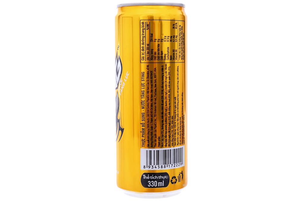 Nước tăng lực Sting vàng lon cao 330ml