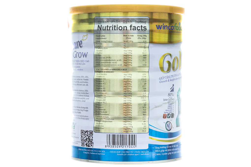 Sữa bột Goldcare Grow lon 900g (từ 1 tuổi)