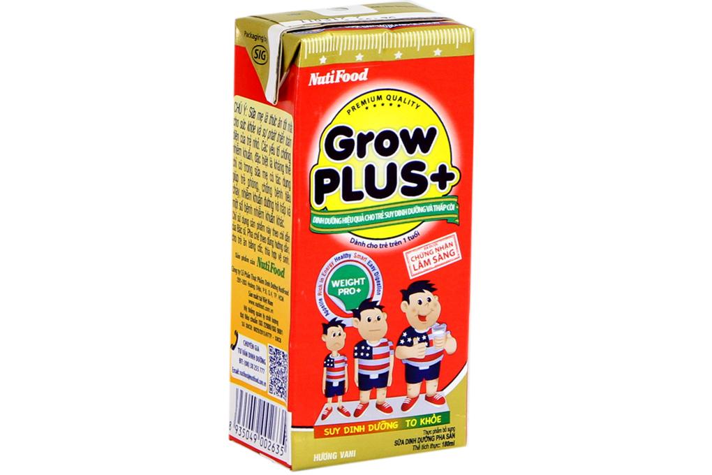 Sữa bột pha sẵn Grow Plus+ hương Vani hộp 180ml