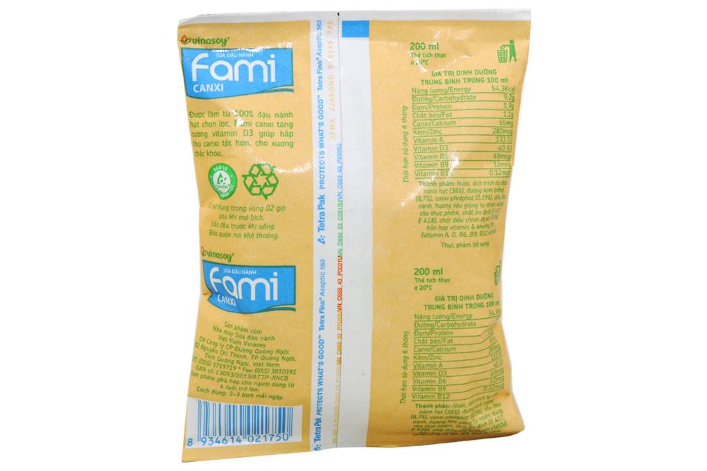 Sữa đậu nành Fami canxi bịch 200ml