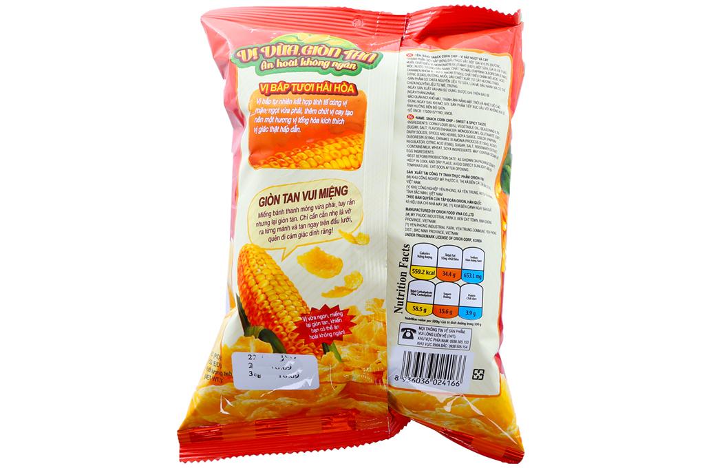 Snack Corn Chip vị bắp ngọt & cay gói 38g