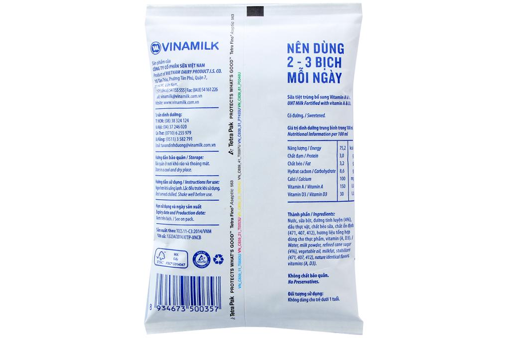 Sữa tiệt trùng Vinamilk Có đường bịch 220ml