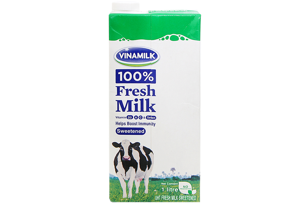 Sữa tươi tiệt trùng Vinamilk Có đường hộp 1lít