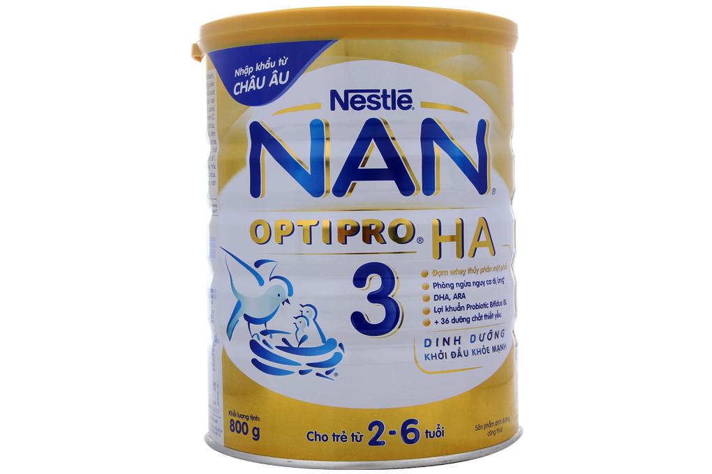 Sữa bột Nestle NAN Optipro 3 HA hộp 800g (cho bé 2-6 tuổi)