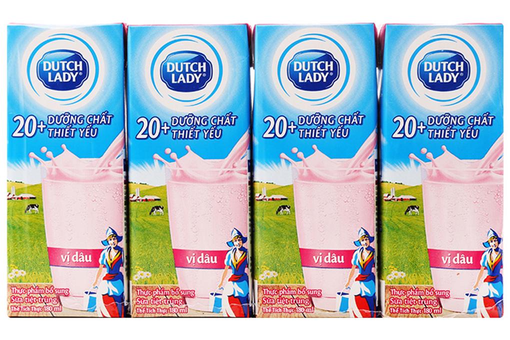 Sữa tiệt trùng vị dâu Dutch Lady Active 20+ hộp 180ml