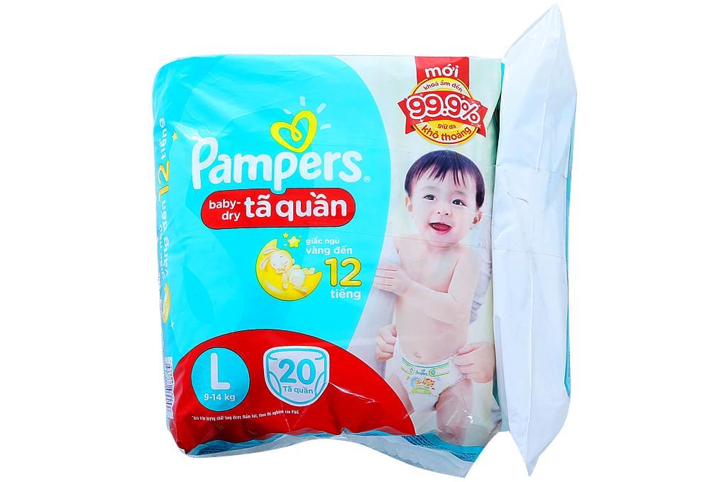 Tã quần Pampers size L 20 miếng (bé 9-15kg)