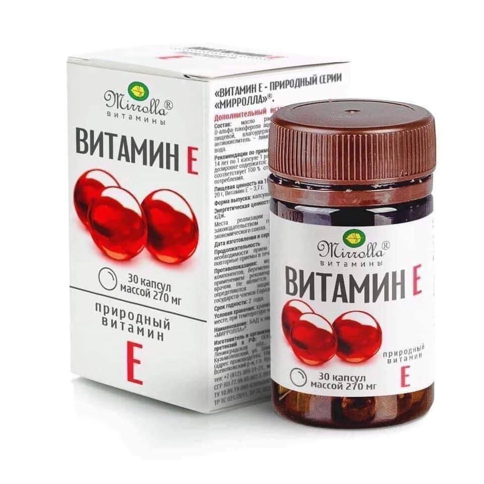 Vitamin E màu đỏ của Nga, lọ 30 viên, 270mg hãng Mirrolla