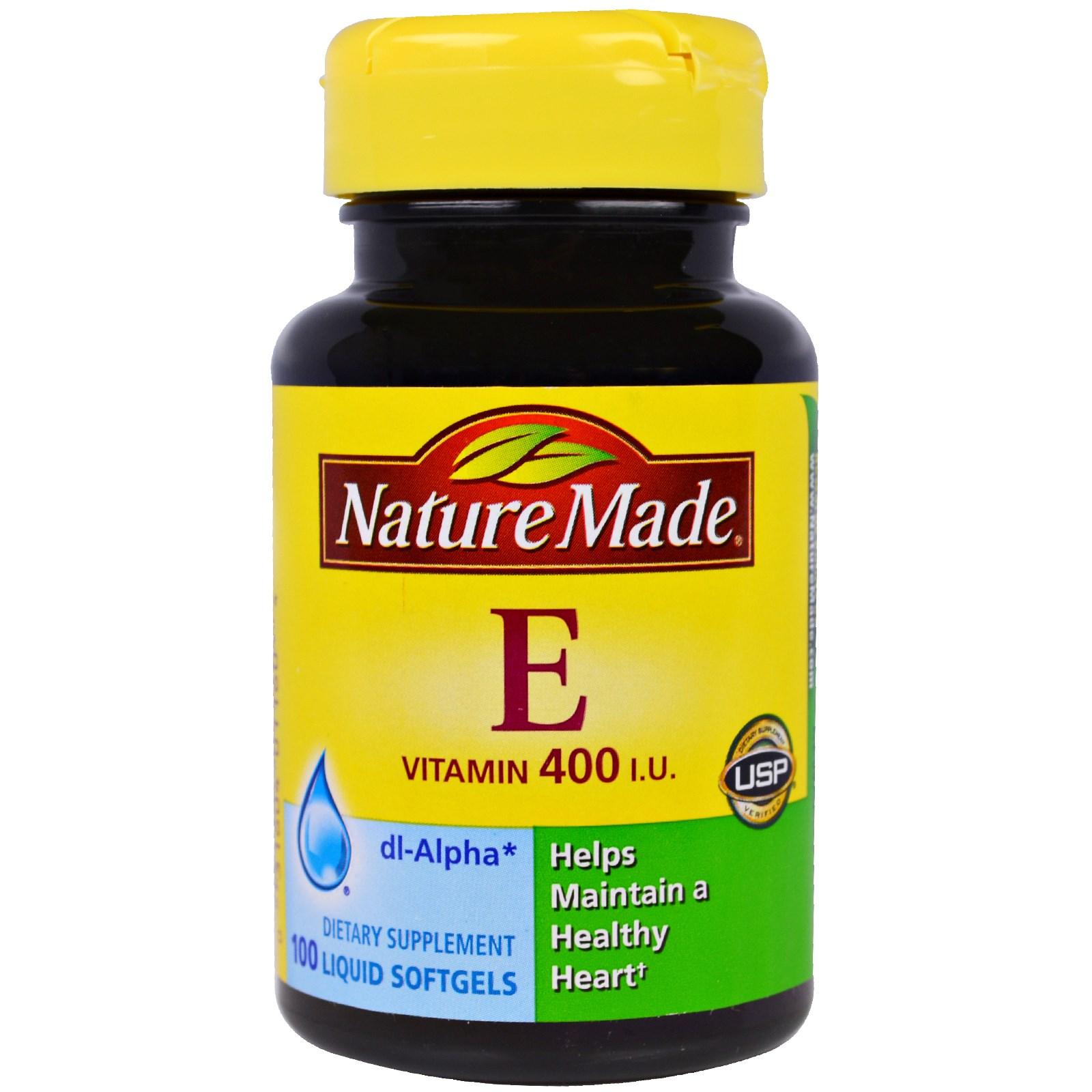 Vitamin E, 400 IU, 100 viên nang mềm, hiệu Nature Made