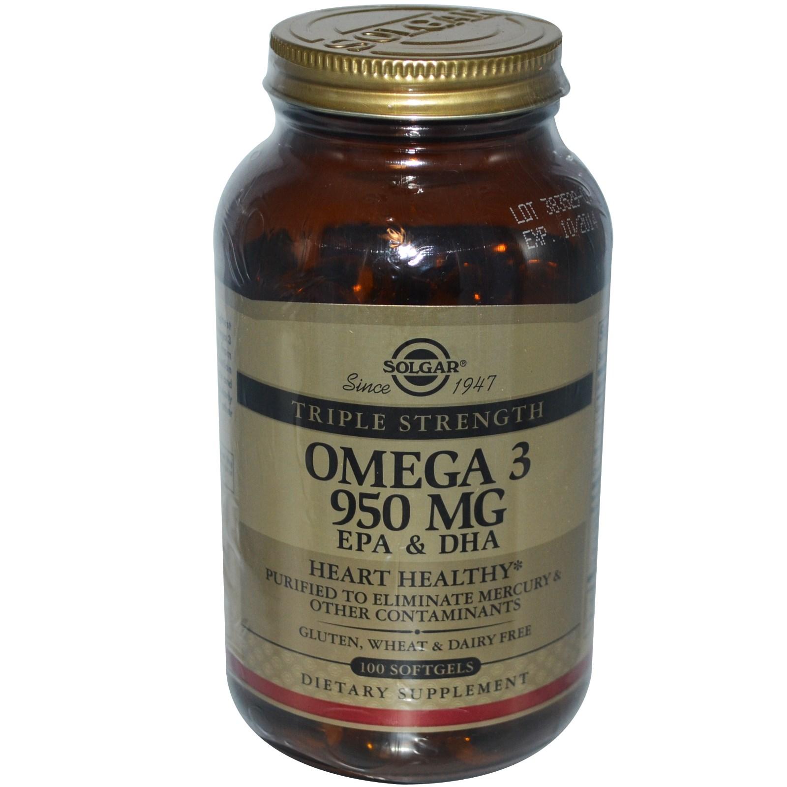 Omega-3 EPA & DHA, Triple Strength, hiệu Solgar, lọ 950 mg, 100 viên nang mềm