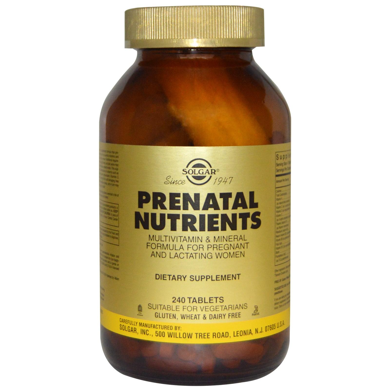 Vitamin tổng hợp, dinh dưỡng và khoáng chất dành cho bà bầu hiệu Solgarl, lọ 240 nén