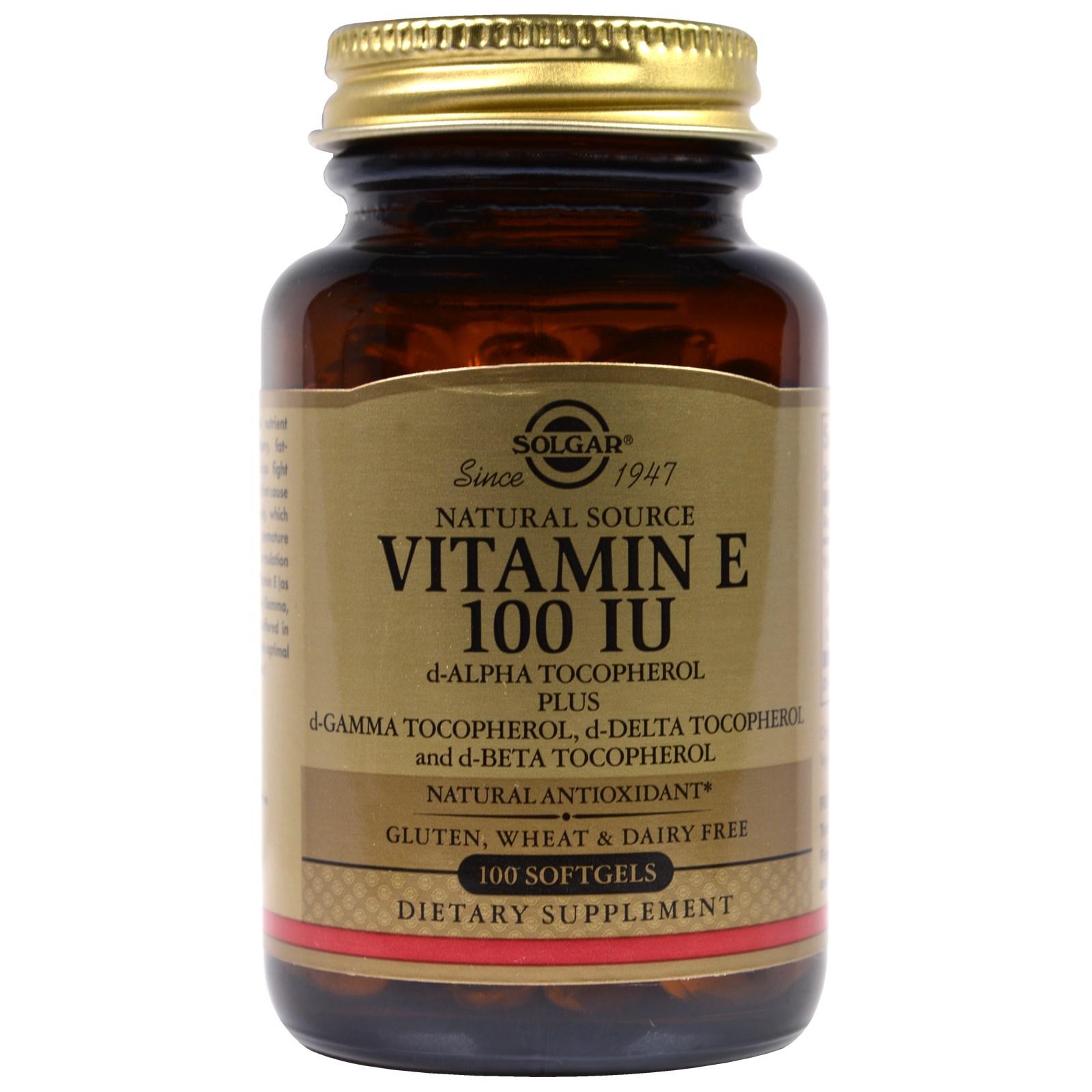 Vitamin E hiệu Solgar, 100 IU, lọ 100 viên nang mềm