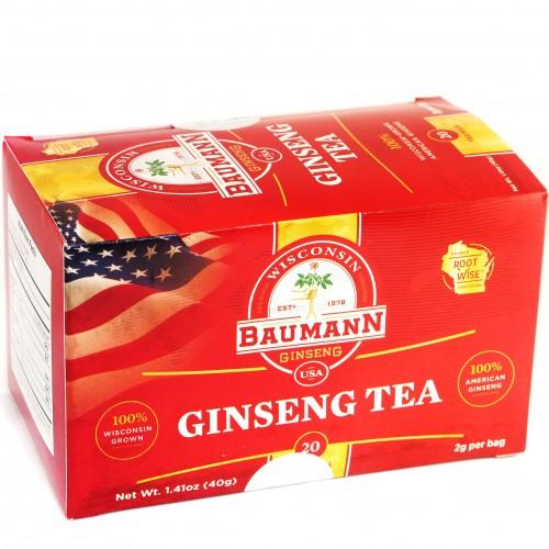 Nhân Sâm túi lọc Baumann Wisconsin, hộp 20 túi - 100% Wisconsin Ginseng Farm - Mỹ