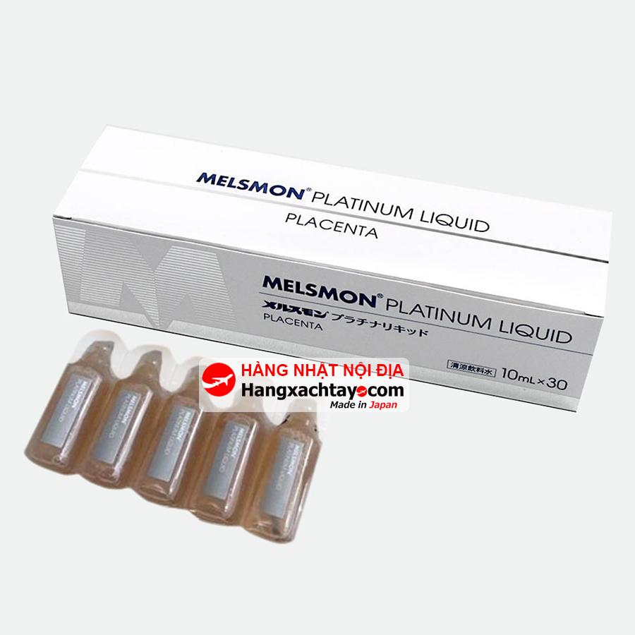 Nước uống tinh chất nhau thai ngựa Melsmon Platinum Liquid Placenta 30 ống x 10ml