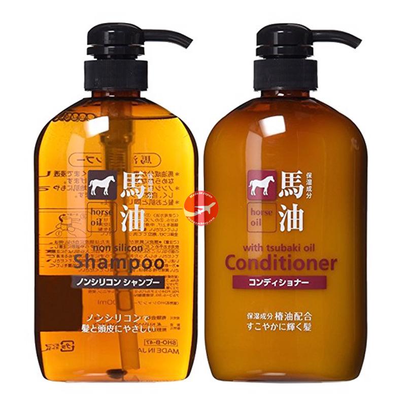 Cặp Dầu gội + dầu xả ngựa Horse Oil 600ml Nhật Bản