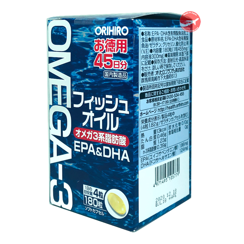 Viên uống dầu cá Omega 3 Orihiro 180 viên