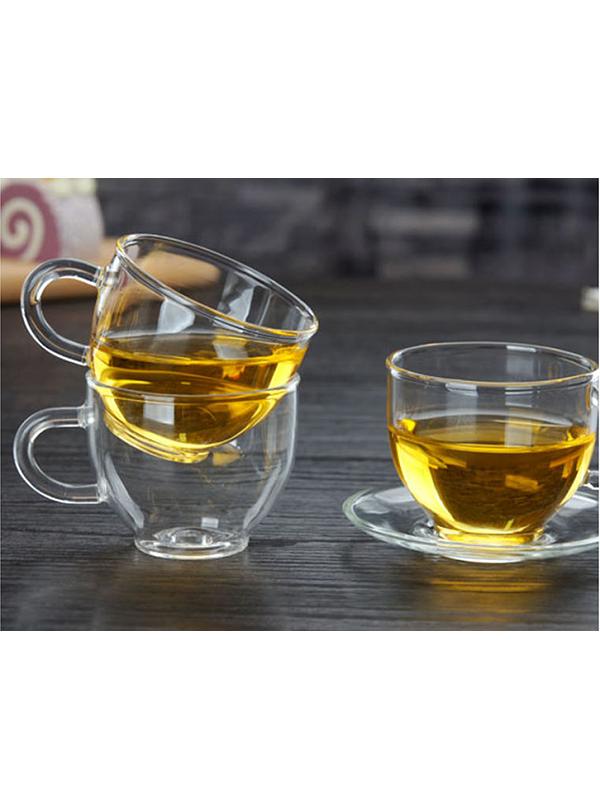 Chén trà thủy tinh ZENO CTT04 (Kèm đĩa) - 110ML