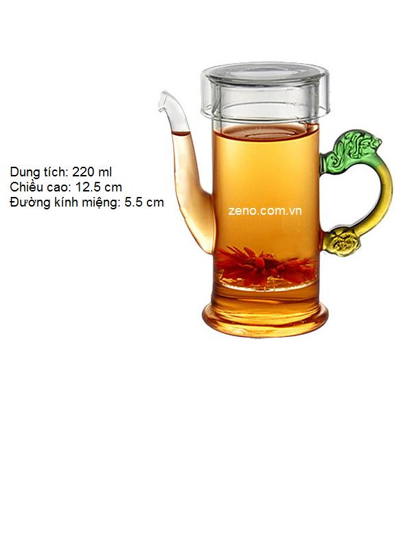 Ấm trà thủy tinh màu sắc ZENO ATT36 220ml