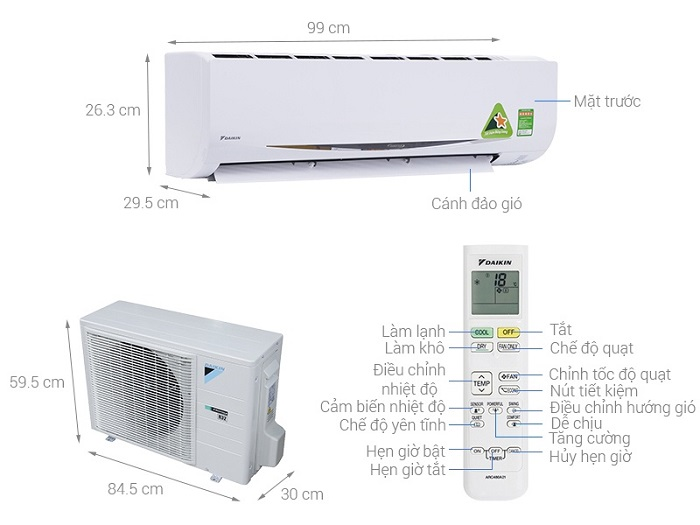 Điều Hòa Daikin Inverter 1 Chiều 9000btu FTKS/RKS25GVMV