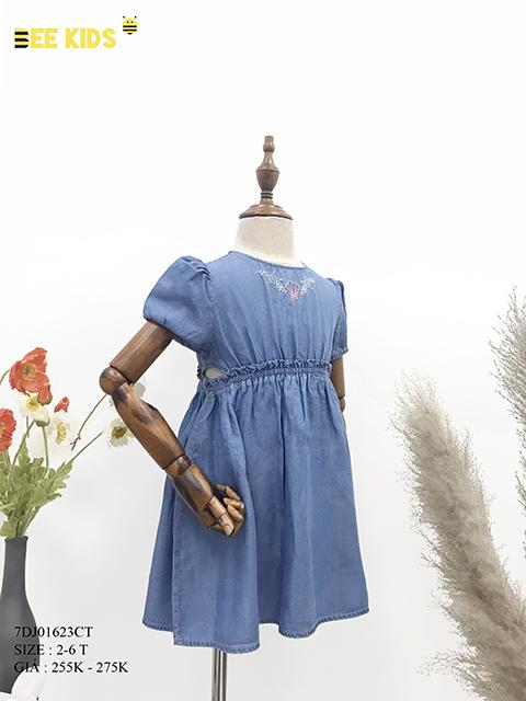 Váy jean bé gái khoét eo 2-6 tuổi
