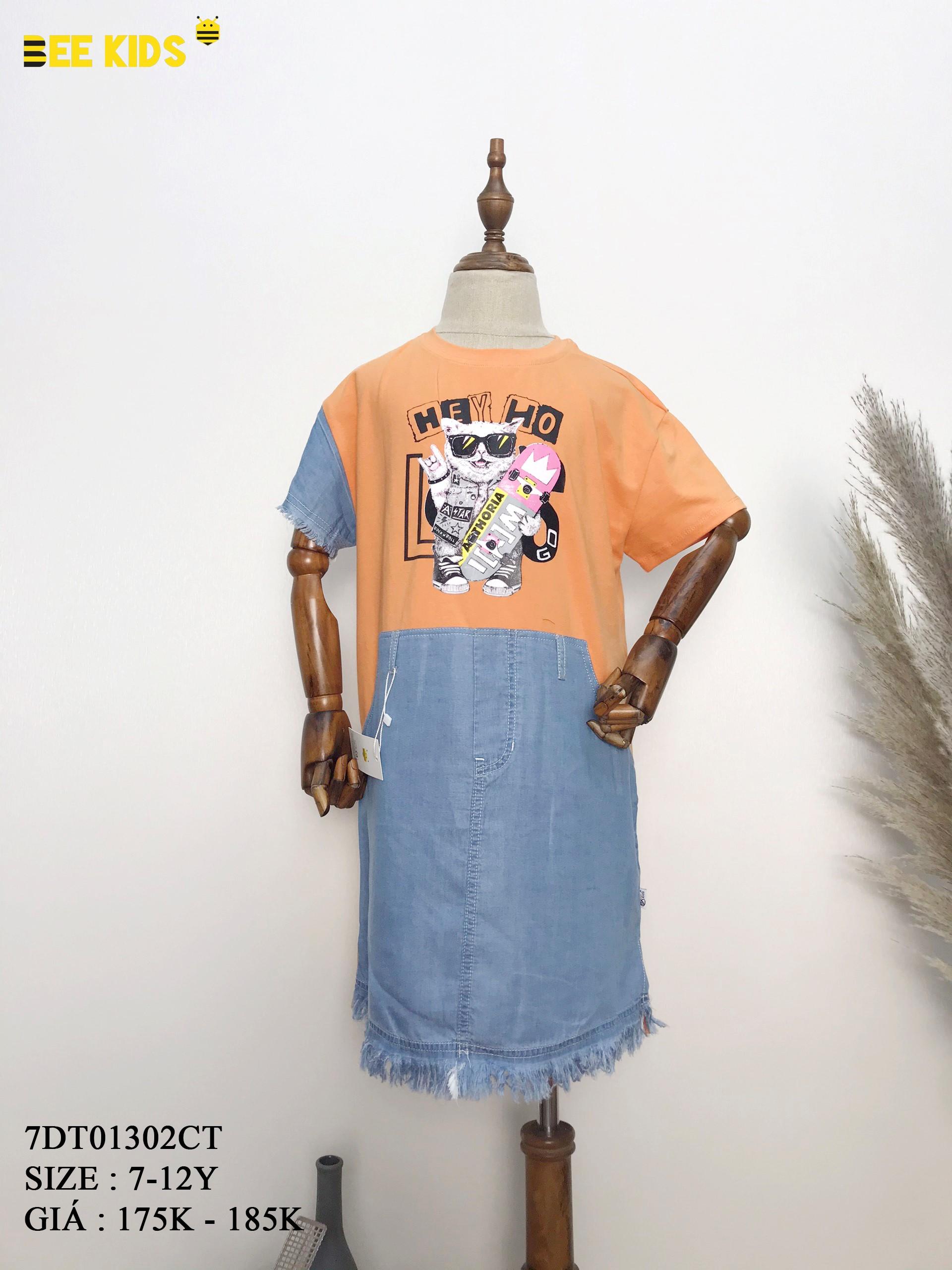 Váy thun phối jean cho bé 7-12 tuổi