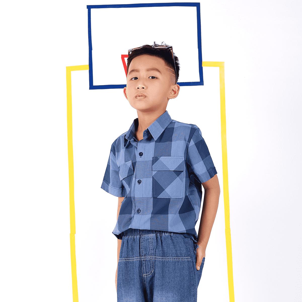 Áo sơ mi cộc tay bé trai từ 7 đến 12 tuổi