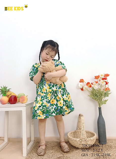 Váy thô hoa cho bé gái size 2-12 tuổi