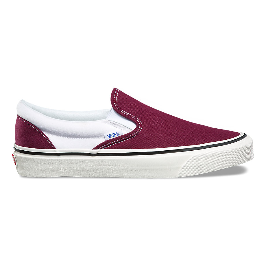 VANS ANAHEIM FACTORY SLIP-ON 98 DX OG BURGUNDY WHITE