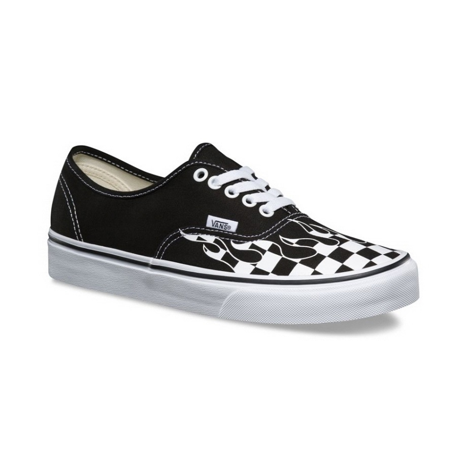 VANS CHECKER FLAME AUTHENTIC BLACK TRUE WHITE VN0A38EMRX8 - VANS VN