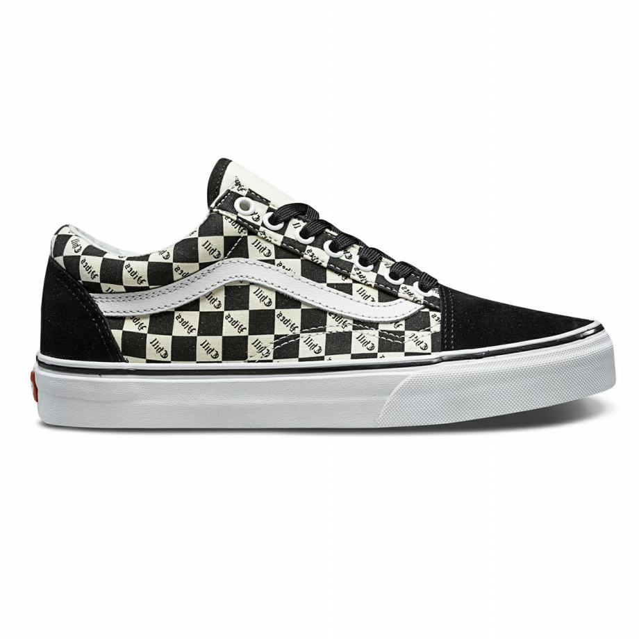 VANS CHECKERBOARD OLD SKOOL CHILL VIBES BLACK/WHITE