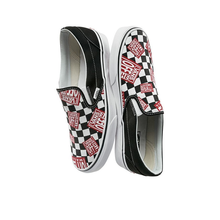 VANS CHECKERBOARD SLIP-ON CLASSIC OFF THE WALL BLACK/RACING RED