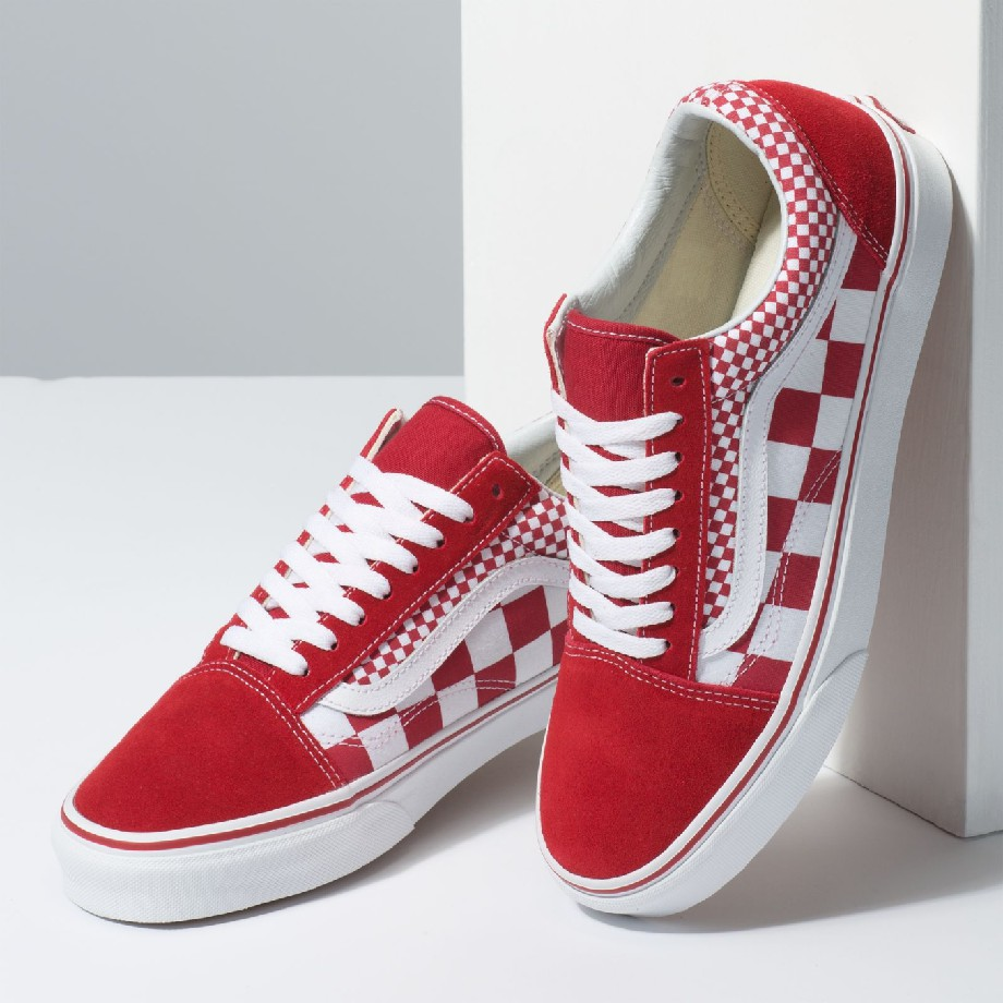 VANS MIX CHECKER OLD SKOOL CHILI PEPPER/TRUE WHITE