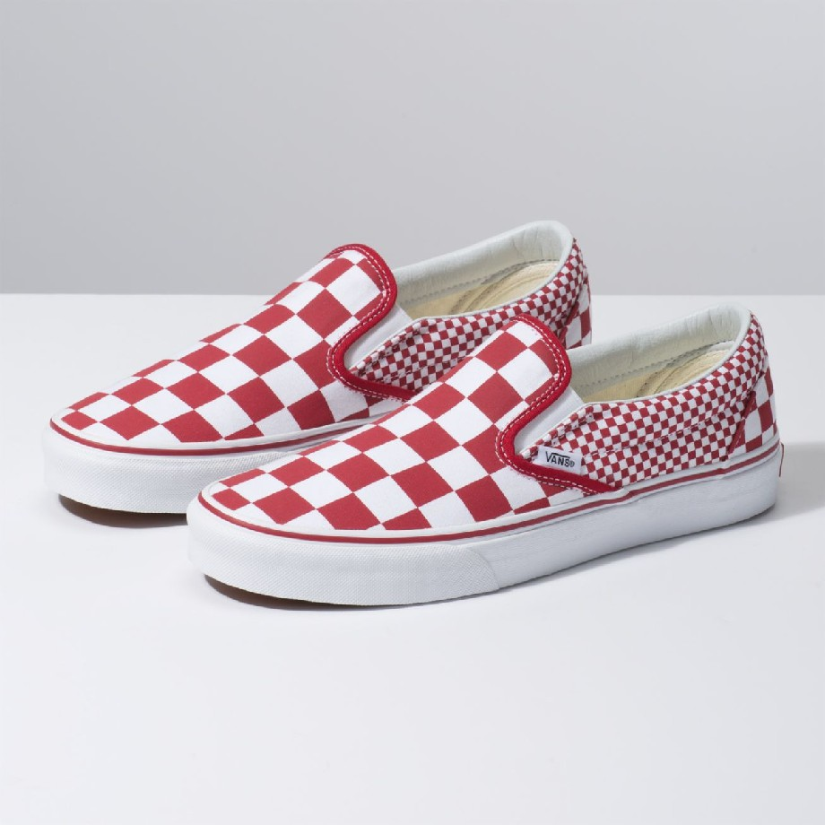 VANS MIX CHECKER SLIP-ON CHILI PEPPER TRUE WHITE VN0A38F7VK5 - VANS Việt Nam