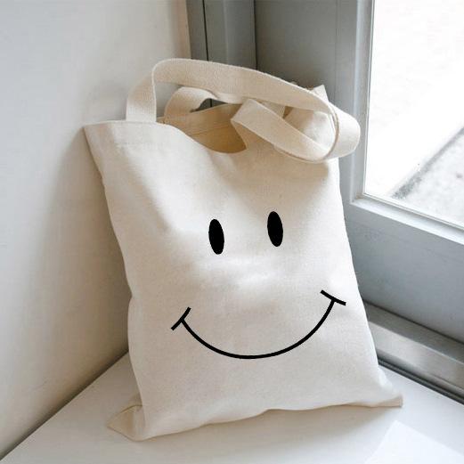 túi vải canvas teen dễ thương hình mặt cười