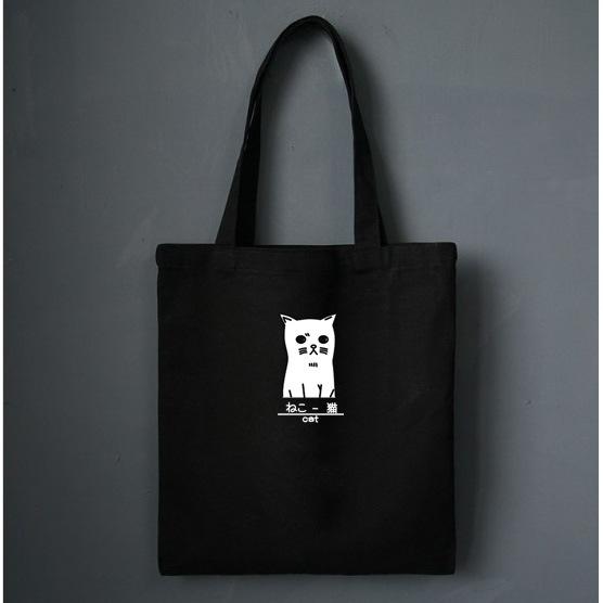 túi vải tote đeo chéo màu đen chú mèo