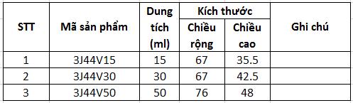Thông số Hũ PP oval nắp Oval 3J44