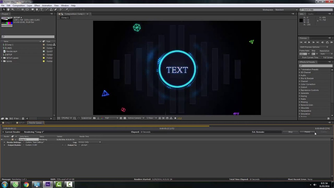 CÁCH XUẤT VIDEO, PROJECT TRONG AFTER EFFECT