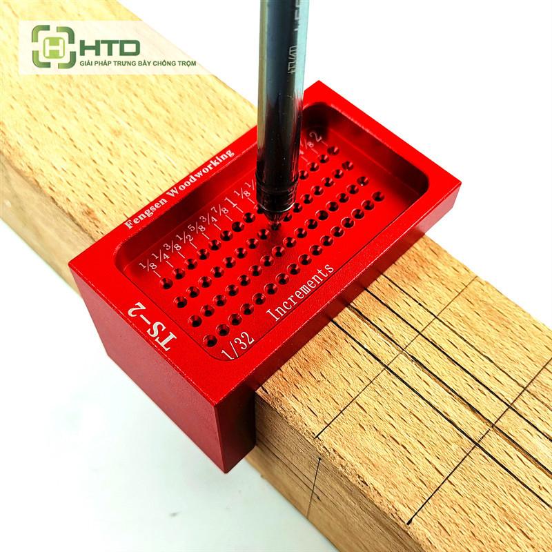 thước đo gỗ chữ L có lỗ đánh dấu