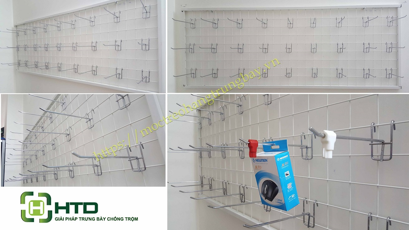 khung lưới treo hàng gắn tường