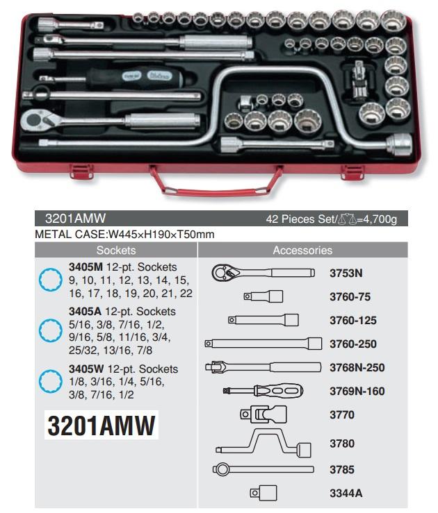 Bộ đầu khẩu 3/8 inch kết hợp, Koken 3201AMW, bộ tuýp 9.5mm với 42 chi tiết