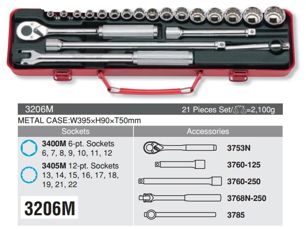 Bộ tuýp Koken 9.5mm, Koken 3206M, bộ khẩu 3/8 inch